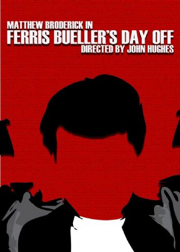 1980's Movie - FERRIS BUELLER'S DAY OFF - MINIMAL RED / canvas print - self adhesive poster - photo